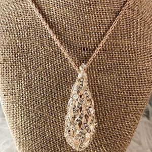 """Rose gold 30"""" necklace with rose gold pendant"""